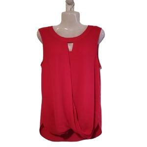 41 HAWTHORN Bright Red Sleeveless Keyhole Blouse